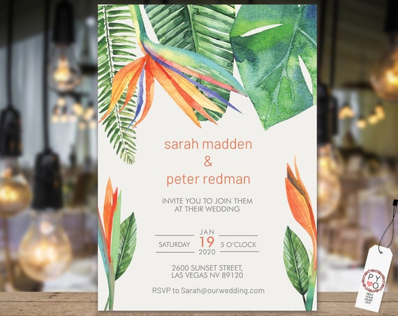 Bird of Paradise Wedding Invitation, Modern Leaf Invitation, Reception, Orange Invitation, DIY Printable Invite, Wildflower Invitation