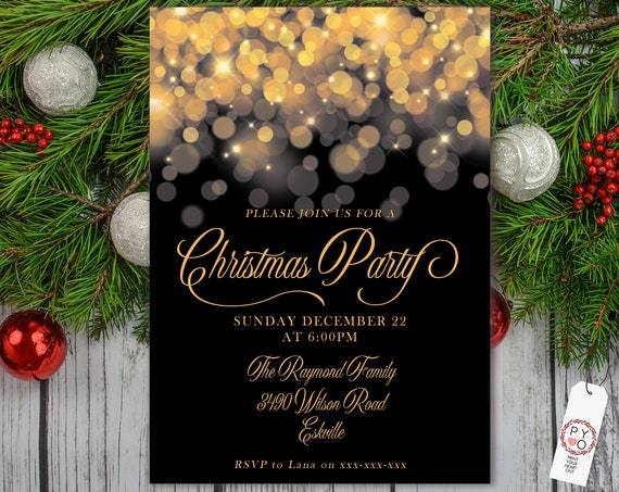 Elegant Gold Lights Christmas Party Invitation, Gold Glitter Invitation, Sparkling Invite, Friends Family Xmas Party at Home, Shimmering