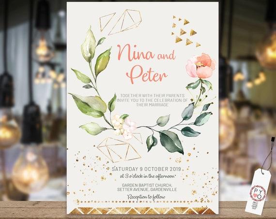 Peach Gold Geometric Floral Wedding Invitation, Cream Rose Invitation, Watercolor Apricot Invitation, Printable Gold, Editable Template