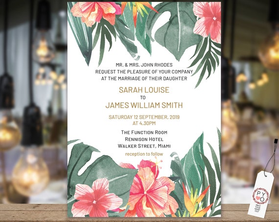 Tropical Leaves Wedding Invitation, Orange Hibiscus Invitation, Reception Invitation, Beach Invitation, Printable, Double Sided Template