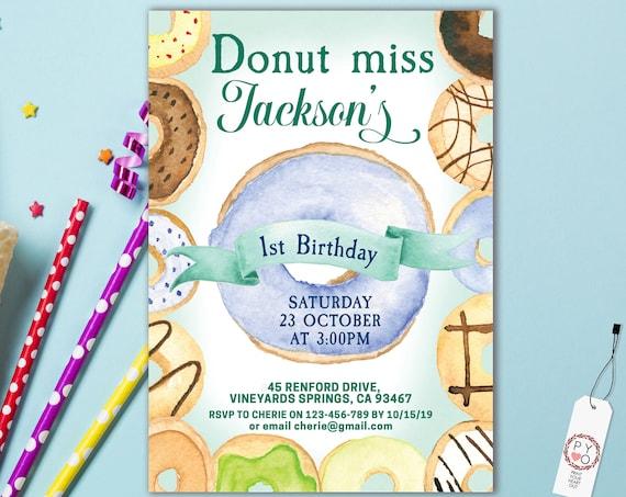 1st Birthday Boy Donut Invitation Printable Template, One Editable Invitation, Dessert First Birthday, Donut Party, Donut Baby, Baby First
