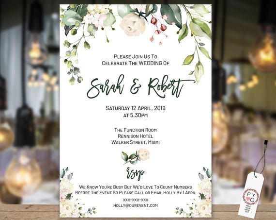 Green Leaves Cream Roses Wedding Invitation, Botanical Engagement Invitation, Text Invitation, Script Invitation, Editable Template