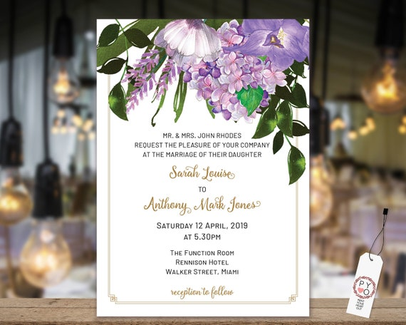 Lavender Floral Wedding Invitation, Purple Invitation, Reception Invitation, Watercolor Flower Invitation, Printable, Editable Template