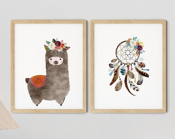 Baby Boho Llama Girls Nursery Art Print Set | Printable Nursery Art | Dream Catcher Kid Room | Baby Room Wall | Nursery Decor | Set 2 Prints