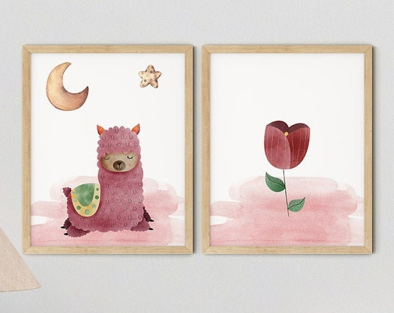 Baby Boho Pink Llama Girls Nursery Art Print Set | Printable Nursery Art | Roses Kid Room | Baby Room Wall | Nursery Decor | Set 2 Prints