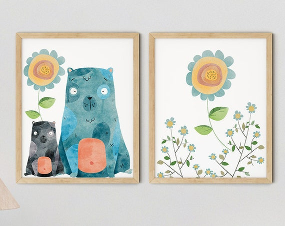Modern Blue Boho Bears Art Print Set | Printable Nursery Art | Yellow Flowers Kids Room | Baby Room Wall | Girl Nursery Decor | Set 2 Prints