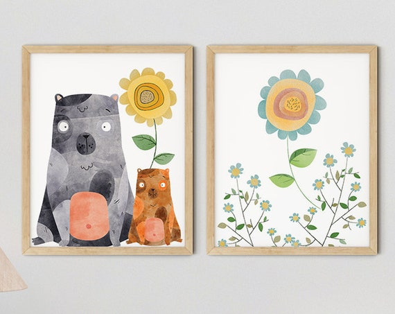Modern Boho Bears Art Print Set | Printable Nursery Art | Yellow Flowers Kids Room | Baby Room Wall | Girl Nursery Decor | Set 2 Prints