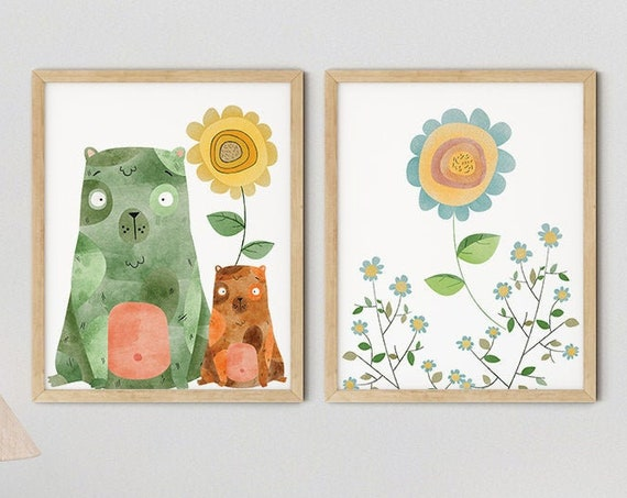 Modern Green Boho Bears Art Print Set | Printable Nursery Art | Yellow Flower Kids Room | Baby Room Wall | Girl Nursery Decor | Set 2 Prints