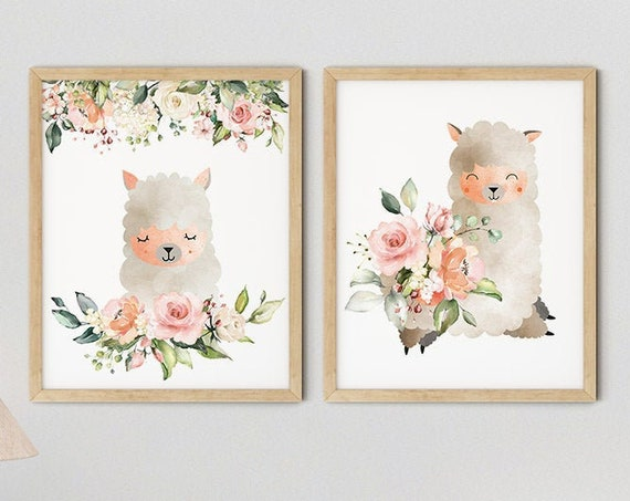 Baby Llama Girls Nursery Art Print Set | Printable Nursery Art | Pink Flower Kids Room | Baby Room Wall | Nursery Decor | Set 2 Prints
