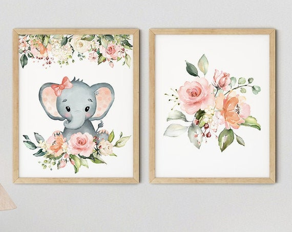 Baby Elephant Girls Nursery Art Print Set | Printable Nursery Art | Pink Flower Kids Room | Baby Room Wall | Nursery Decor | Set 2 Prints