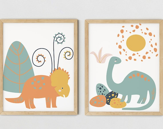 Modern Boys Dinosaur Art Print Set | Printable Nursery Art | TreesYellow Kids Room | Baby Room Wall | Boy Nursery Decor | Set 2 Prints