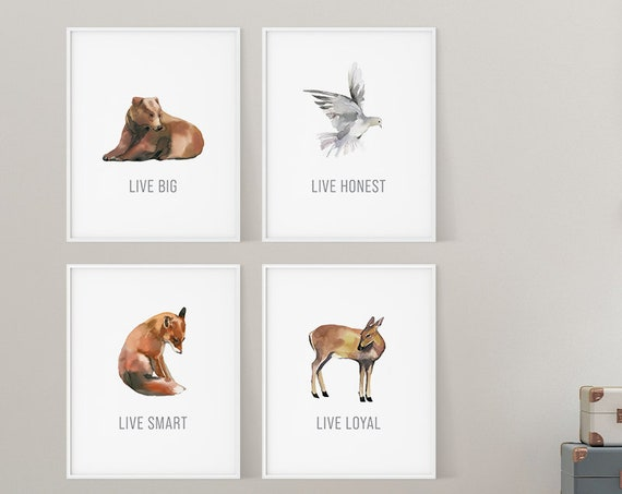 Woodland Nursery Decor | Forest Nursery Animals | Nursery Prints | Watercolor Woodsy Animals | Wall Art | Set of 4 Nursery Prints | Fox Art
