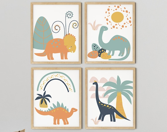 Modern Boys Dinosaur Art Print Set | Printable Nursery Art | TreesYellow Kids Room | Baby Room Wall | Boy Nursery Decor | Set 4 Prints