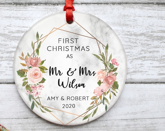 Personalized First Christmas As Mr And Mrs Marble Style Botanical Ceramic Round Decoration Ornament Keepsake Housewarming
