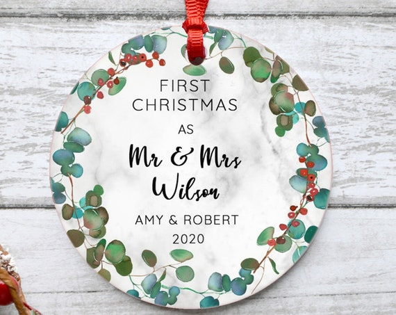 Eucalyptus 2020 Personalized First Christmas As Mr And Mrs Marble Style Botanical Ceramic Round Decoration Ornament Keepsake Housewarming