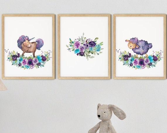 Baby Animals Purple Art Print Set | Printable Nursery Art | Kids Room Art | Lamb Unicorn Wall Art | Lilac Girl Nursery Decor | Set 3 Prints