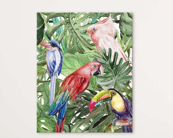 Jungle Parrots Digital Print | Printable Greenery Art | Tropical Art Print | Natives Wall Art | DIY Wall Art | Leaves Print | Office Art