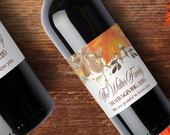 Thanksgiving Wine Labels, Printable Wine Labels Template - DIY Avery 22835 Wine Label - Fall Autumn Leaves Bottle Stickers, Orange Custom