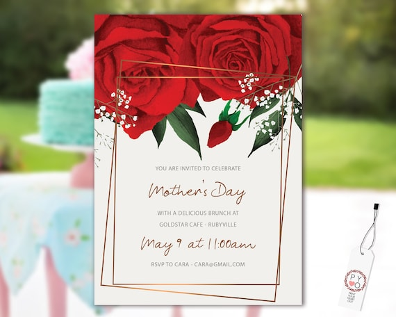 Watercolor Red Roses Mother's Day Brunch Invitation Printable Template, Mom Day Editable Lunch Invitation, Printable Floral Invitation