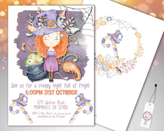 Halloween Little Witch Kids Invitation Printable Template, Pumpkin Party Invite, Printable Spooky Fright Night Invite, Spiderweb