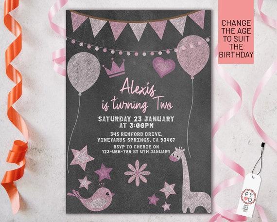 Chalkboard Pink Birthday Invitation Printable Template, Editable Invitation, Any Age Birthday, Pink Balloons Party, Girls Age Birthday