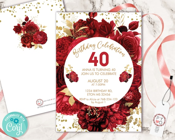 Red Roses Flowers Invitation Printable Template, White Gold Confetti Editable Birthday Party Invitation for Women, Bright Red Floral Invite