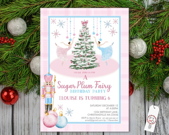 Sugar Plum Fairy Birthday Christmas Party Invitation, Sweet Ballerinas, Xmas Tree Kids Invite, Children Party, Pink Blue Nutcracker Baubles