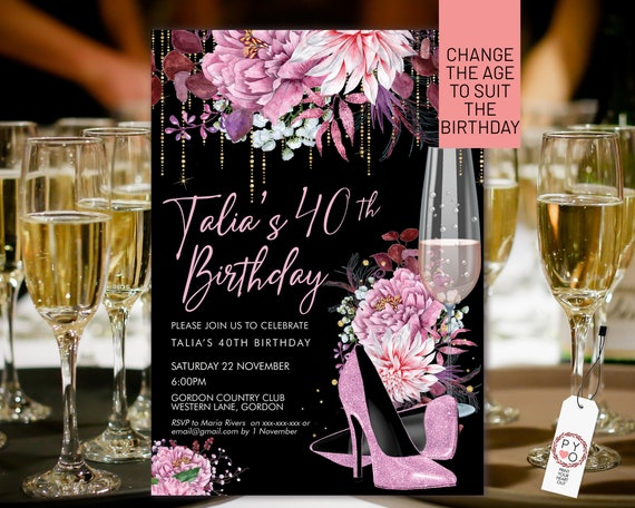 Pink Glitter Stiletto Champagne Birthday Invitation Printable Template, Pastel Pink Shoes Editable Party Dinner Women, Any Age Heels Invite