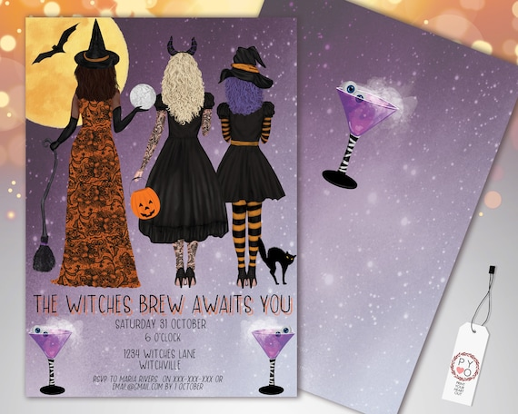 Halloween Cocktail Party Invitation Printable Template, Adult Drinks Party Invite, Printable Fright Night Invite, Girls Witches Brew Invite