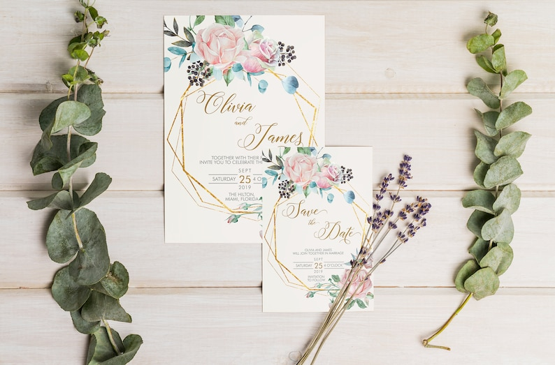 Floral Gold Geometric Wedding Invitation Set  Pink Rose Cream image 0