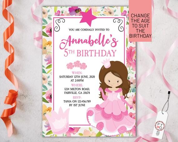 Pink Princess Floral Birthday Invitation Printable Template, Editable Invitation, Any Age Birthday, Pink Crown Party, Girls Age Birthday
