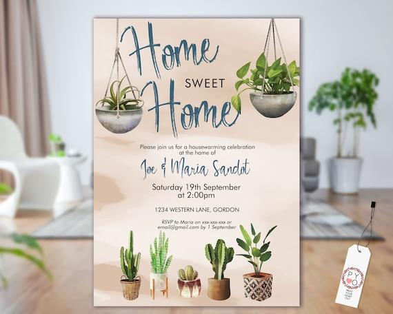 Boho Plants Housewarming Invitation, New Home Invite, Printable House Party, Tropical Editable Template, Hanging Plants Pots, Garden Invite