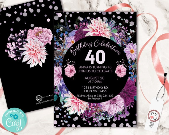 Pink Purple Flowers Invitation Printable Template, Mauve Lilac Confetti Editable Birthday Party Invitation for Women, Lavender Floral Invite