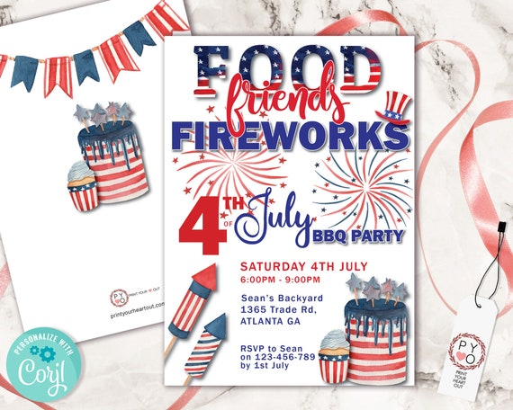 4th of July Food Friends Fireworks BBQ Invitation Printable Template, Red White Blue Editable Grill Party Invite, Independence Day Picnic