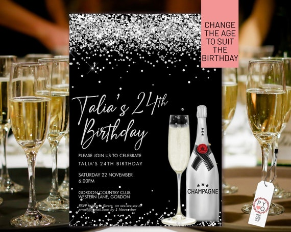Silver Champagne Glitter Invitation Printable Template, Drinks Cocktails Glitter Editable Birthday Party Invitation Women, Printable Card