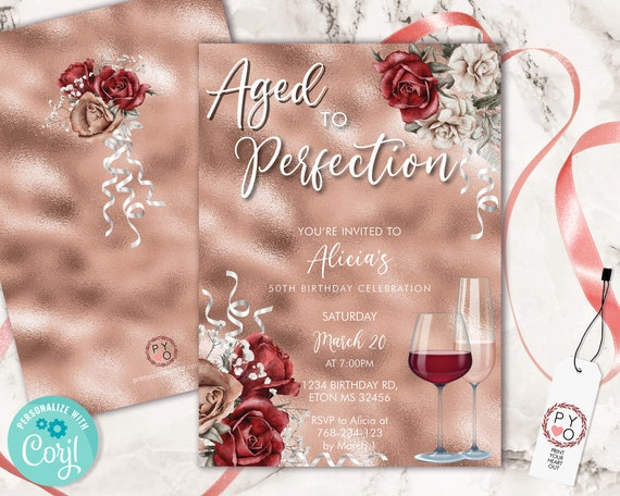 Wine Birthday Rosegold Invitation Printable Template, Aged to Perfection Editable Birthday Party Women, Printable Champagne Glass Invite