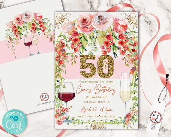 Garden Gold Wine Birthday 50 Invitation Printable Template, Fifty Gold Glitter Editable 50th Birthday Dinner for Women, Printable FloralCard