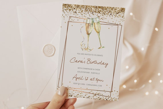 Gold Champagne Glitter Birthday Invitation Printable Template, White Gold Editable Birthday Drinks Party, Cocktails, Rosegold Printable Card