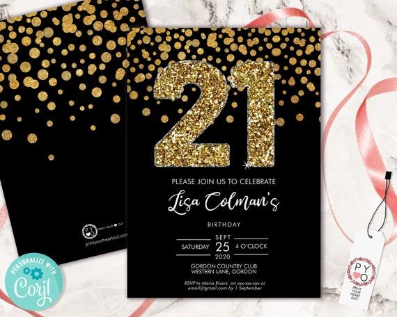 DIY 21st Birthday Confetti Invitation Printable Template, Black Gold Glitter Editable Birthday Party Invitation for Women, Printable