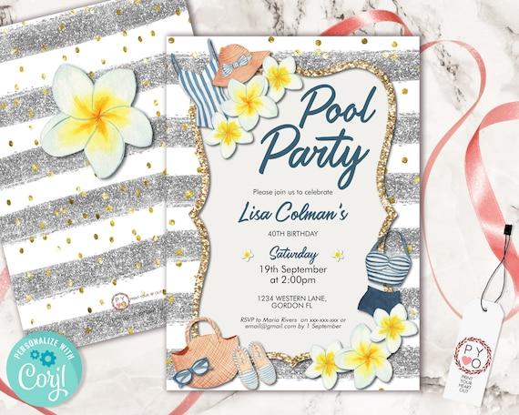Frangipani Pool Party Birthday Invitation, Modern Lunch Brunch BBQ Invite, Printable Backyard Party, Tropical Editable Template, Nautical