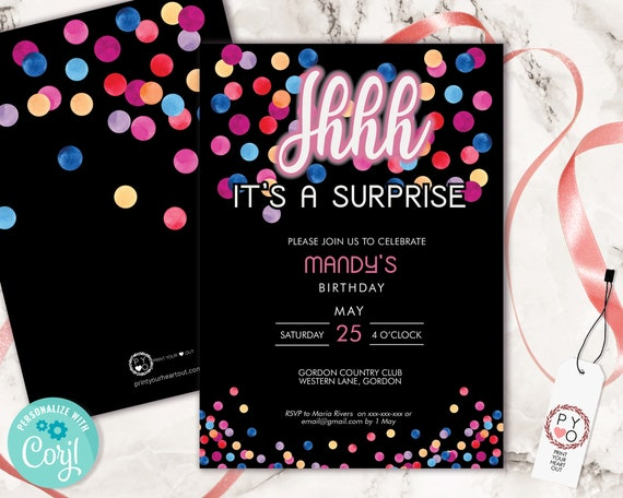 Shhh Its a Surprise Birthday Confetti Invitation Printable Template, Black Pink Editable Birthday Party Invitation for Any Age, Secret Party