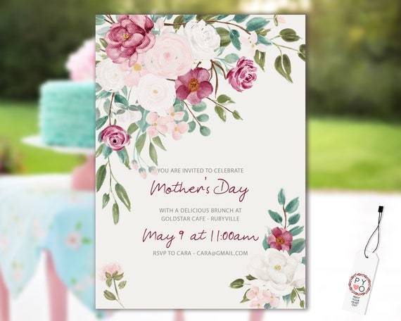 Watercolor Country Roses Mother's Day Brunch Invitation Printable Template, Mom Day Editable Lunch Invitation, Printable Floral Invitation