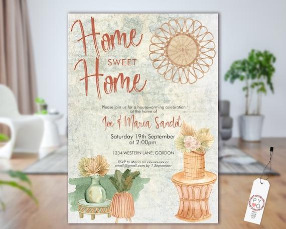 Boho Rattan Housewarming Invitation, New Home Invite, Printable House Party, Tropical Editable Template, Bamboo Plants Pots, Garden Invite