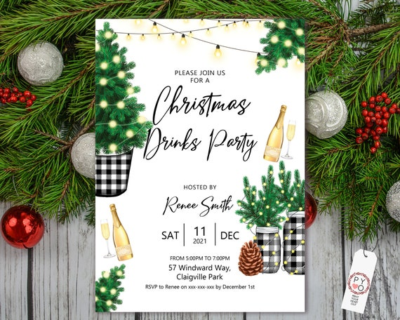 Buffalo Check Christmas Tree Party Lights Invitation, Champagne Drinks, Cocktail Invite, Friends Family Xmas Party at Home, Lunch, Dinner