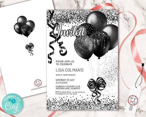 Black Glitter Birthday Balloons Invitation Printable Template, Black Ribbons Editable Birthday Party Invitation, Confetti Printable Card