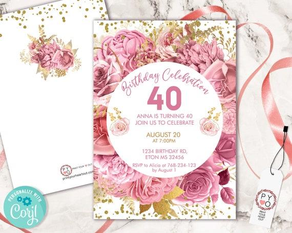 Pink Roses Flowers Invitation Printable Template, White Gold Confetti Editable Birthday Party Invitation Women, Pastel Blush Floral Invite