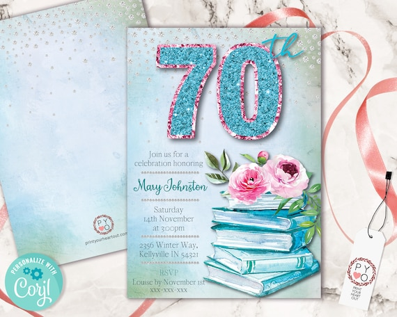 Aqua 70th Birthday Invitation Printable Template, Books Roses Pink Teal Editable Birthday Party Invitation for Women, Glitter Watercolor