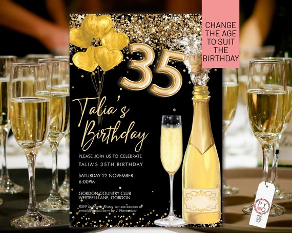 Gold Champagne Foil Balloon Number Glitter Invitation Printable Template, Drinks Editable Birthday Party Invitation Women, Printable Card
