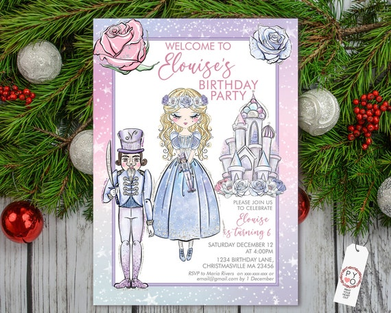 Pink Nutcracker Birthday Christmas Party Invitation, Sweet Blue Princess Castle Kids Invite, Children Xmas Party, Purple Nutcracker King