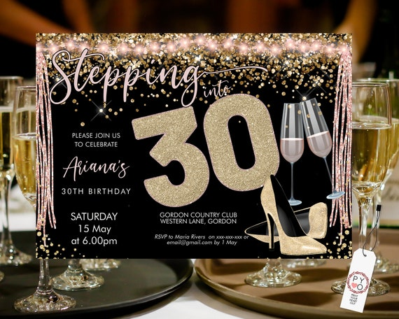 Stepping into 30 Birthday Invitation Printable Template, Sparkle Horizontal Gold Heels Champagne Party Women, Printable gold lights Invite